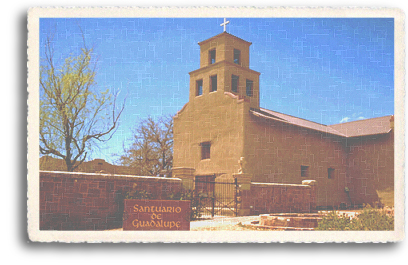 The historic El Santuario de Guadalupe Church is located just west of the Santa Fe Plaza in downtown Santa Fe, New Mexico. Today, this beautiful and much-beloved authentic adobe structure is an art and history museum and serves as an important landmark for the Guadalupe Street Railyard District.