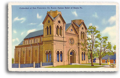 This vintage postcard features the St. Francis Cathedral, located one block east of the historic Santa Fe Plaza in downtown Santa Fe, New Mexico. This unsual structure is one of the most photographed landmarks in the City Different.